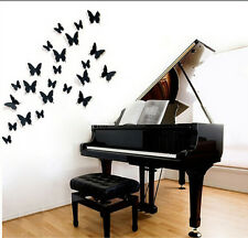 3D DIY Wall Stickers Butterfly Home Decor Room Decorations black 12pcs/set hs