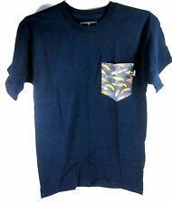 BOHNAM TREBLE POCKET T-SHIRT NAVY MEN'S SIZE SMALL 100% COTTON IMPORT NEW W/TAGS