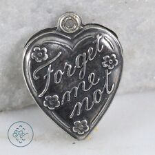 Vintage Sterling Silver | Forget-Me-Not Floral Love Heart 1g | Charm Pendant