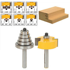 "Hot 2Pc Cemented Carbide Rabbet Router Bits 1/4"" Shank with 6 Adjustable Bearing"