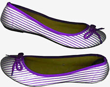 VIOLET STRIPE PRINTED WHITE COMFY BALLET FLAT SHOES_S 7/ 8