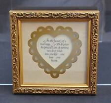 Vintage Imagine Filigree Gold Toned Framed Poem God In Marriage About 6 1/4""
