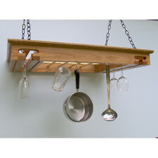 Wine Glass, Stemware, Beer Mug and Pot Rack in Solid Red Oak, Ready to Hang