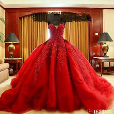 2016 Vintage Luxury Red Wedding Dresses Appliques Bridal Ball Gowns Custom made