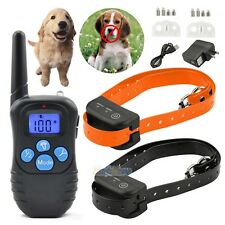 Rechargeable Waterproof Electronic Shock Remote Control 2 Dog Training Collar US