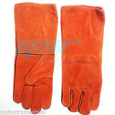 "YNR Snake Catcher Gloves Heavy Duty Reptile Lizards Leather Red Gloves 17"" NEW"