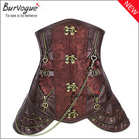 UK Steampunk Underbust Corset and Basques Steel Boned Waist Training Cincher