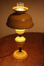 "Vintage Yellow Metal Tin Tole Ware Table Lamp w/ Matching Shade - 18"" High"
