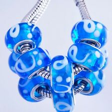 5Pcs BEADS Charms Silver Plated Crystal MURANO GLASS Fit European DIY M0187
