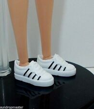 2015 Barbie Shoes Flat & Flex Foot Doll White Black Sneakers Also Fit Skipper