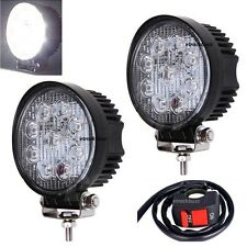 27W LED Work/Flood Fog Light Off Road With Switch For Bajaj Avenger Street 150