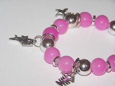 PINK AND SILVER BEADED SILVER BUTTERFLY STRETCH BRACELET