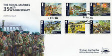 Tristan da Cunha 2014 FDC Royal Marines 350th Ann 6v Set Cover Normandy Invasion