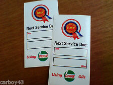 BMC ROSETTE CASTROL NEXT SERVICE DUE Classic Retro Car Stickers 2 off 95mm