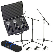 3-Samson R21 Vocal Stage Microphones w/ Boom Stands & 18 ft XLR Mic Cables