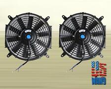 "2x 12"" Universal Slim Fan Push Pull Electric Radiator Cooling Motor Kit Black"