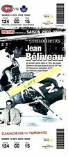 Jean Beliveau Design Souvenir Ticket from Montreal Canadiens v. Leafs Game 2003