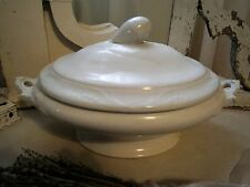 ~LOVELY LARGE ANTIQUE WHITE IRONSTONE COVERED SERVER TUREEN COTTAGE CHIC