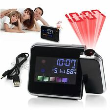 Digital LCD LED Time Projector Snooze Alarm Clock Weather Humidity Temperature