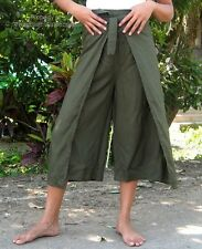 Light 3/4 Leg Rayon Drive In 60s Thai Wrap Pants for Child in Dark Olive Green