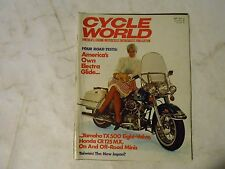 SEPTEMBER 1973 CYCLE WORLD MAGAZINE,HARLEY ELECTRIA GLIDE COVER,YAMAHA TX500,AMA