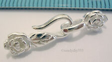 1x BRIGHT STERLING SILVER FISH HOOK ROSE FLOWER LEAF EYE HOOK CLASP #657