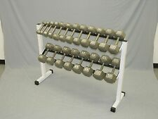 Ader Rack w/ 5-50LB Grey Hex Head Dumbbell Set