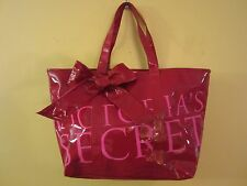 Victoria's Secret Lg Red & Pink 2009 Runway Vinyl Tote Handbag w/ Bow Retired