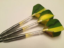 26g MEGA YELLOW LIGHTNING 90% TUNGSTEN Darts Set, Pro Grip Stems, Bulls Flights