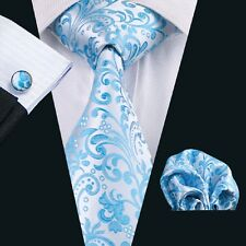 C-1080 Classic Men's Silk Tie Blues Accessories Sets Wedding Party Business New