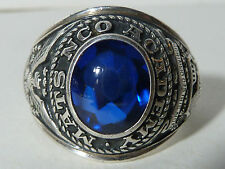 """""""MATS NCO ACADEMY"""" STERLING SILVER CLASS RING W/ BLUE STONE"""