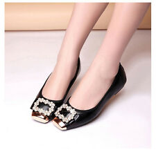 Comfortable Women Shoes Flat Heel Soft Bottom Pumps Buckle Work Bling Rhinestone