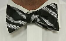 "NEW! Hand Made.100% BLACK & SILVER Stripes SELF TIE Bow Tie. 2.5"" wide."