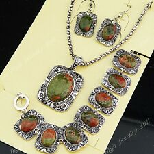 2014 Natural Flower Stone Necklace Earrings Bracelet Women Vintage Jewelry Set