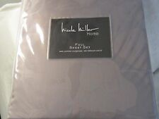 Nicole Miller Home FLORAL JACQUARD Grey Gray FULL SHEET SET 4PC 300tc COTTON