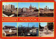 DDR Postkarte ROSTOCK ua. Wohn-Hochhaus, Schiffe im Hafen, Sport-Kongreßhalle