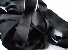 "100% PURE SILK SATIN RIBBON [36MM] 1 1/2"" WIDE  ~BLACK ~COLOR  3 YDS"