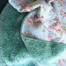 Cosy Blanket Throw Bedspread Queen Coverlet Set Green & Floral Reversable