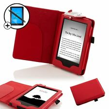 Leather Red Smart Case with Light Amazon Kindle (2014) Screen Prot Stylus