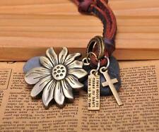 N220 Brown Cute Sunflower Pendant Surfer Leather Cord Long Necklace Men's NEW