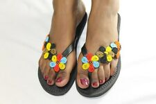 Gorgeous Hand-Crafted Flower-Beaded Kenya Leather Sandals FREE POSTAGE