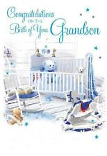 Congratulations On The Birth Of Your Grandson Modern Cot & Rocking Horse Card