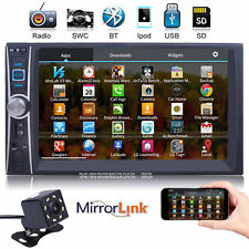 "7"" 2 DIN IN Dash Car GPS Stereo Video MP5 Player Mirror Link for Android +Camera"