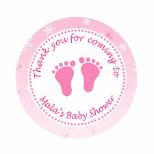 40 Stickers Winter Baby Girl Shower Thank You Label Favor Feet Personalized