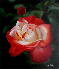Quality Hand Painted Oil Painting Vivid Rose with Bud 20x24in