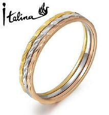 TRIPLE RING SET 18K YELLOW GOLD, ROSE GOLD, PLATINUM: L, N
