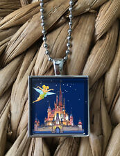 Cinderella Castle Tinkerbell Disney World Pendant Silver Chain Necklace NEW