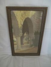 B9  Stanford University Hand Colored Photo Arches Art Deco Frame