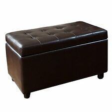 Leather Storage Ottoman Bench Foot Stool Tufted Seat Coffee Table Rectangular