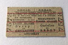Old Vintage 1960s Irish CDRJC Railway Train Ticket Derry Castlefinn Edmondson